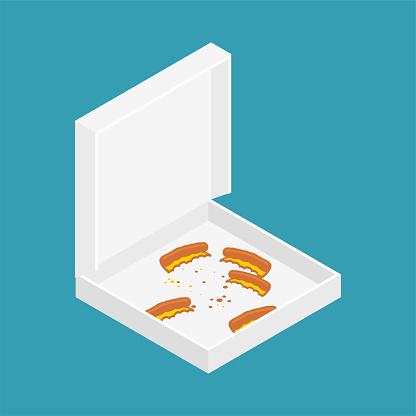 Pizza crust in box open isolated. vector illustration