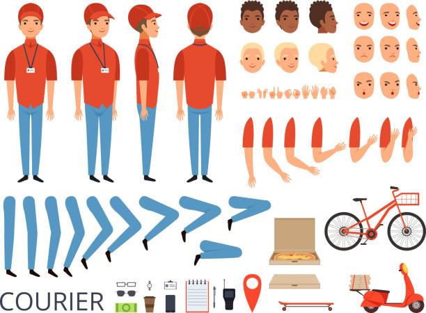 ilustrações, clipart, desenhos animados e ícones de animação de entrega de pizza. partes do corpo de fast-food correio com itens profissionais caixa jogo de criação de personagem de vetor de bicicleta - landscape creation kit