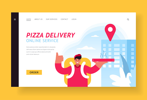 Pizza delivery. Banner template. Male courier delivering pizza to apartment building