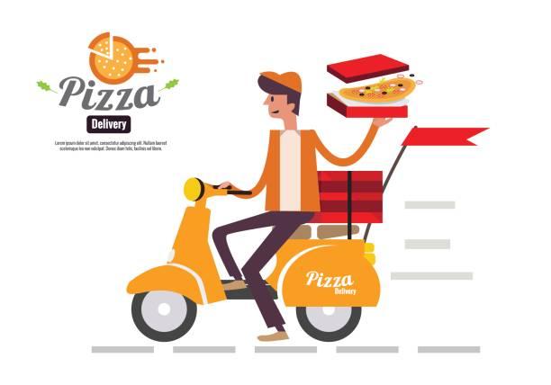 pizza delivery boy reiten motorrad isoliert auf weißem hintergrund. - pizzeria stock-grafiken, -clipart, -cartoons und -symbole
