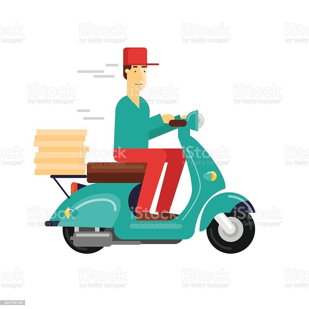 Pizza delivery boy riding motorbike vector art illustration
