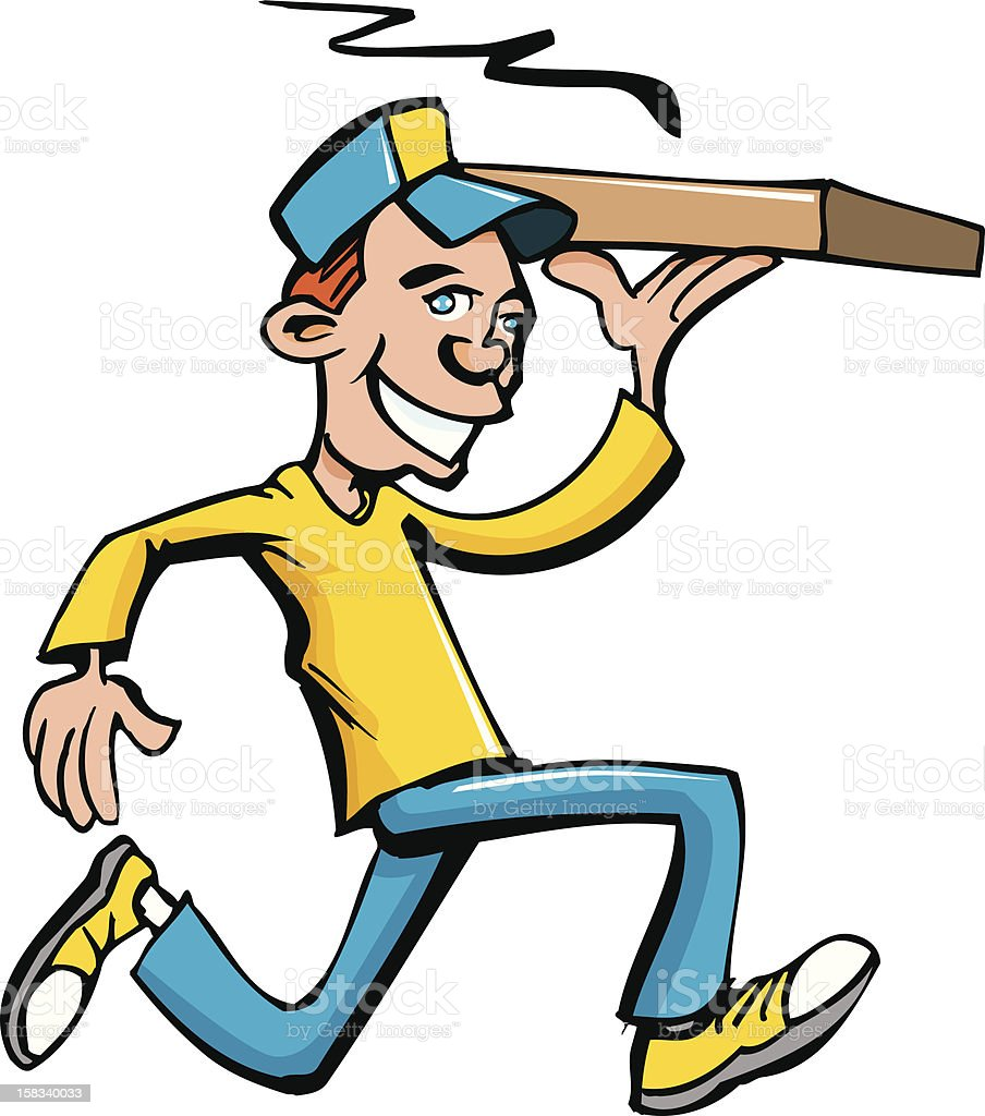 Pizza delivery boy with yellow shirt royalty-free stock vector art