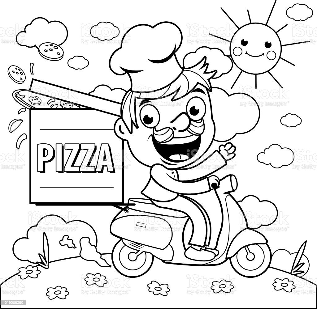 Pizza Delivery Chef In Scooter Coloring Page Royalty Free