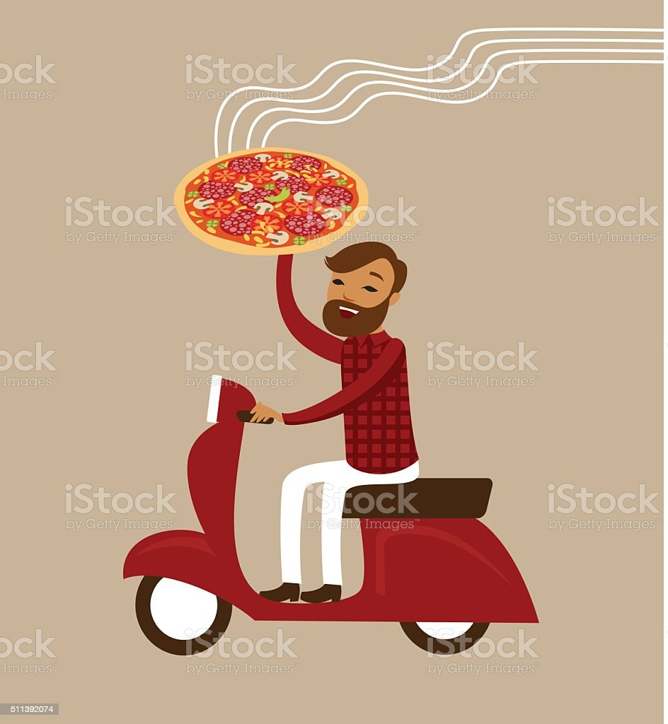 Pizza delivery concept vector art illustration