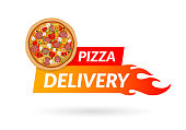 Pizza delivery icon for apps and website isolated on white background. Delivery concept. Vector illustration. Flat design. Eps10.