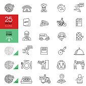 Pizza delivery icon set. Editable stroke.