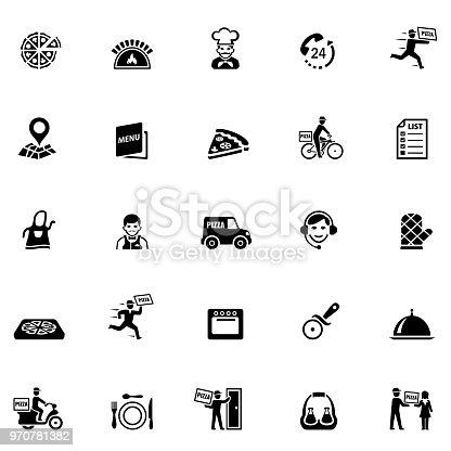 Icon set for pizzeria