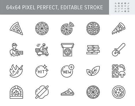 Pizza delivery line icons. Vector illustration set with icon as cheese slice, courier, box, pepperoni, vegetarian restaurant. Outline pictogram for pizzeria menu. 64x64 Pixel Perfect Editable Stroke