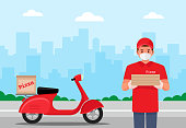 istock Pizza delivery man with protective medical mask, during coronavirus covid-19 epidemic 1250088731