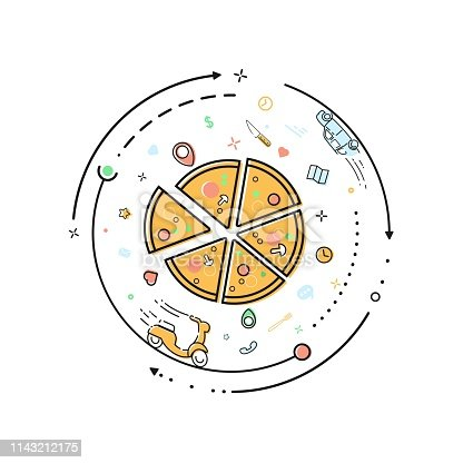 Pizza delivery outline vector illustration concept Pizzapie restaurant 360 Web app of food conveyance services mbe flat style isolated circle infographic on white background