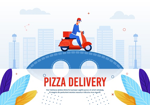Pizza Delivery Service Advertising Text Poster