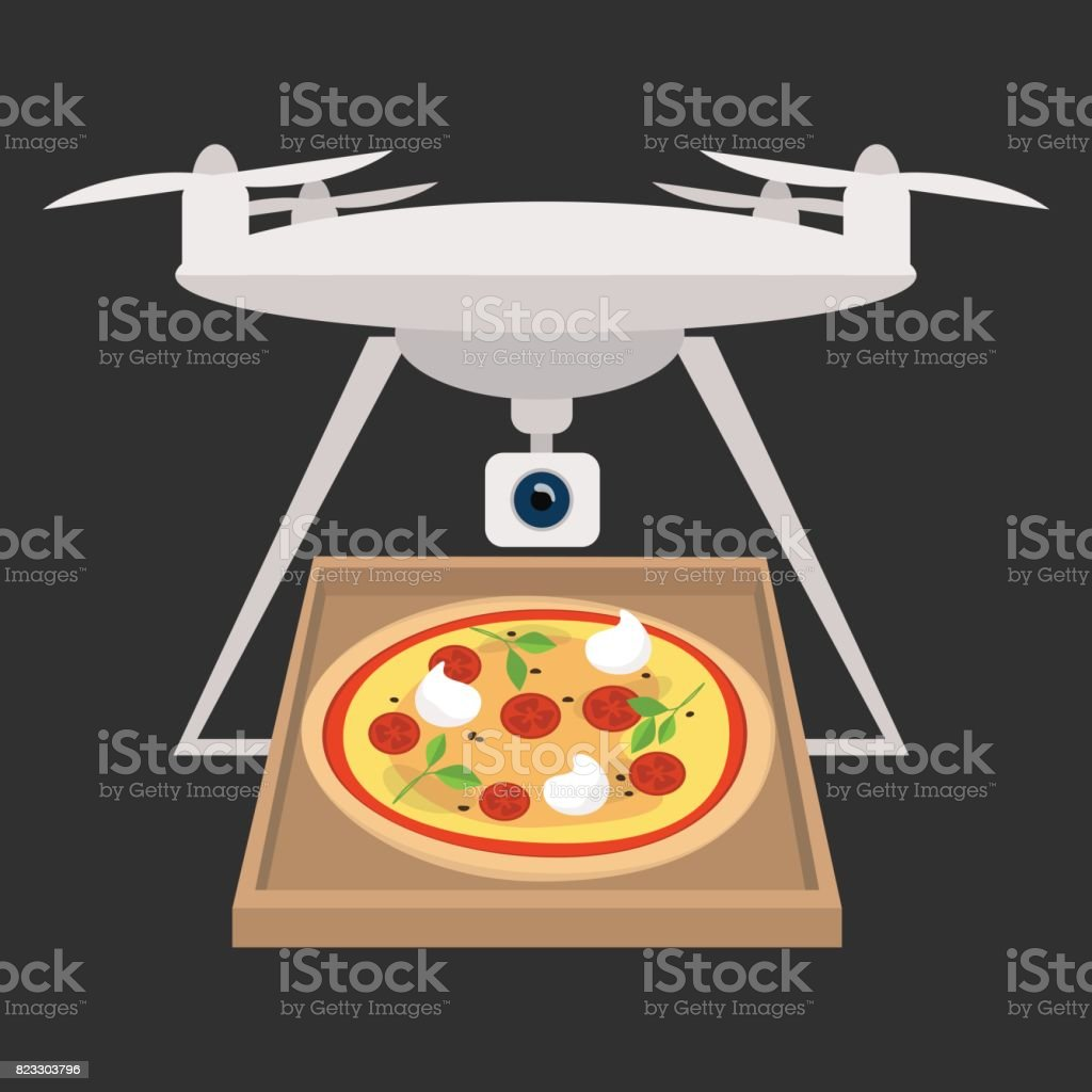 Pizza Delivery Service Drone Flat Editable Vector Illustration Clip Art Royalty