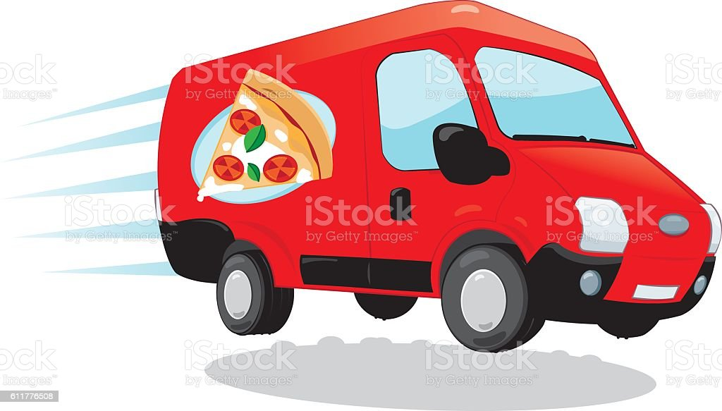 Pizza Delivery van vector art illustration