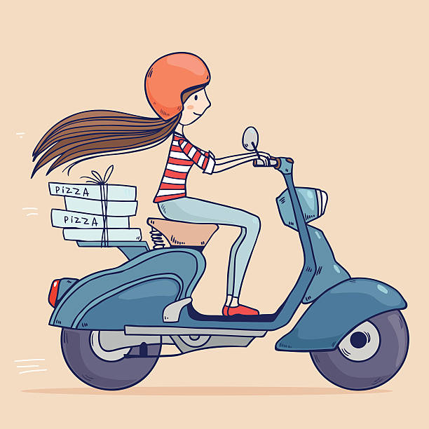 pizza delivery vector art illustration