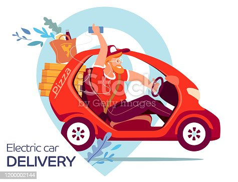 Electric car delivery pizza 24 hours. Fast food delivery service. Flat vector illustration