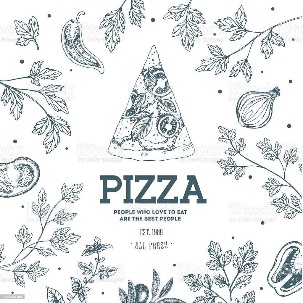 Pizza design template. Vector illustration vector art illustration