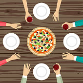 Group of people drinking wine and eating pizza vector illustration