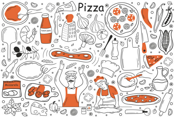 Pizza doodle set Pizza doodle set. Collection of hand drawn sketches templates patterns of man cooker chef holding pepperoni in kitchen. Cooking italian cuisine for lunch and unhealthy fasfood nutrition illustration. cooking drawings stock illustrations