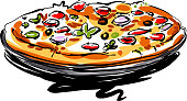 drawing of Pizza, Elements are grouped.contains eps10 and high resolution jpeg.