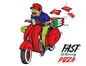 Pizza fast delivery. Man with scooter, mobed. Vector illustration.