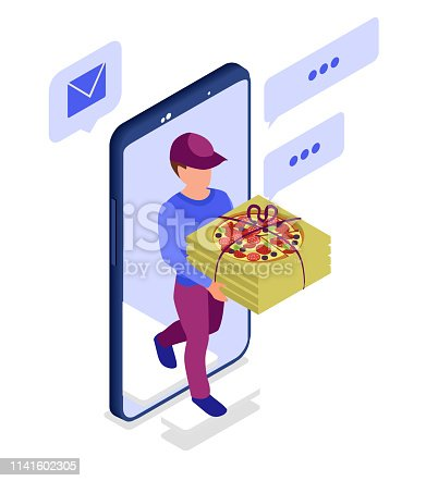 Pizza fast delivery. Isometric mobile app. Flat illustration on a white background