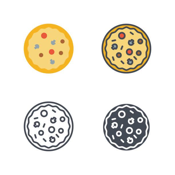 pizza fastfood symbol vektor farbige flache linie - lachskuchen stock-grafiken, -clipart, -cartoons und -symbole