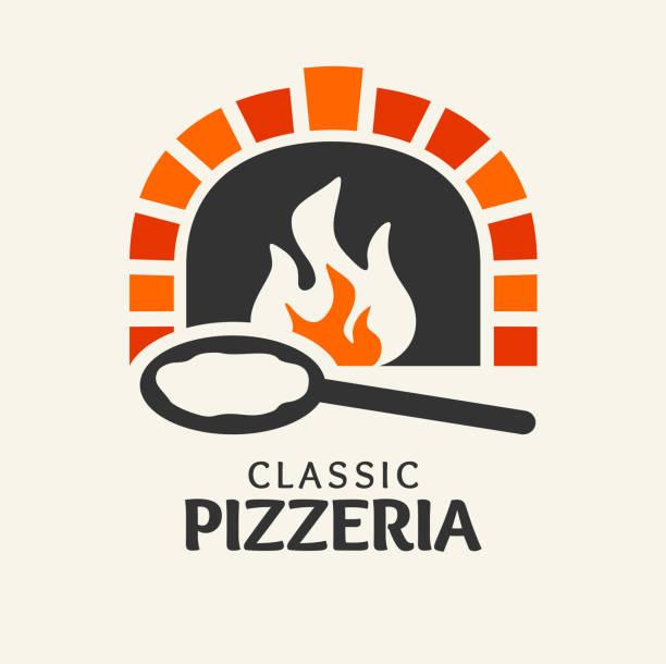 bildbanksillustrationer, clip art samt tecknat material och ikoner med pizza - firewood oven with shovel - wood stone
