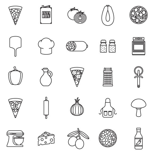 Pizza Flat Design Icon Set A set of icons. File is built in the CMYK color space for optimal printing. Color swatches are global so it's easy to edit and change the colors. mozzarella stock illustrations