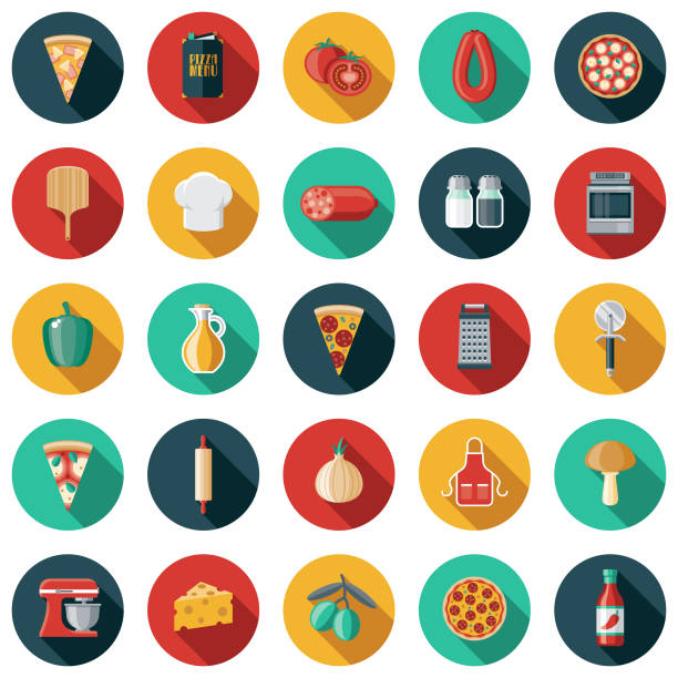 Pizza Flat Design Icon Set A set of icons. File is built in the CMYK color space for optimal printing. Color swatches are global so it's easy to edit and change the colors. tomato sauce stock illustrations