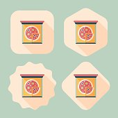 Pizza flat icon with long shadow,eps10