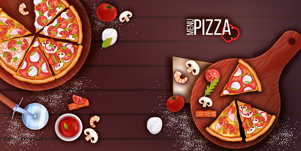 Pizza flat lay on table with cutting boards, slices, cutter, ketchup, tomatoes, flour.