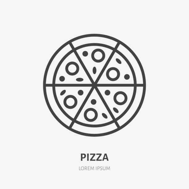 illustrazioni stock, clip art, cartoni animati e icone di tendenza di icona della linea piatta della pizza. segno sottile vettoriale del logo del fast food italiano. illustrazione pizzeria - pizza