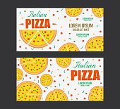 Pizza flyer vector template. Two Pizza banners in flat style. Gift Voucher