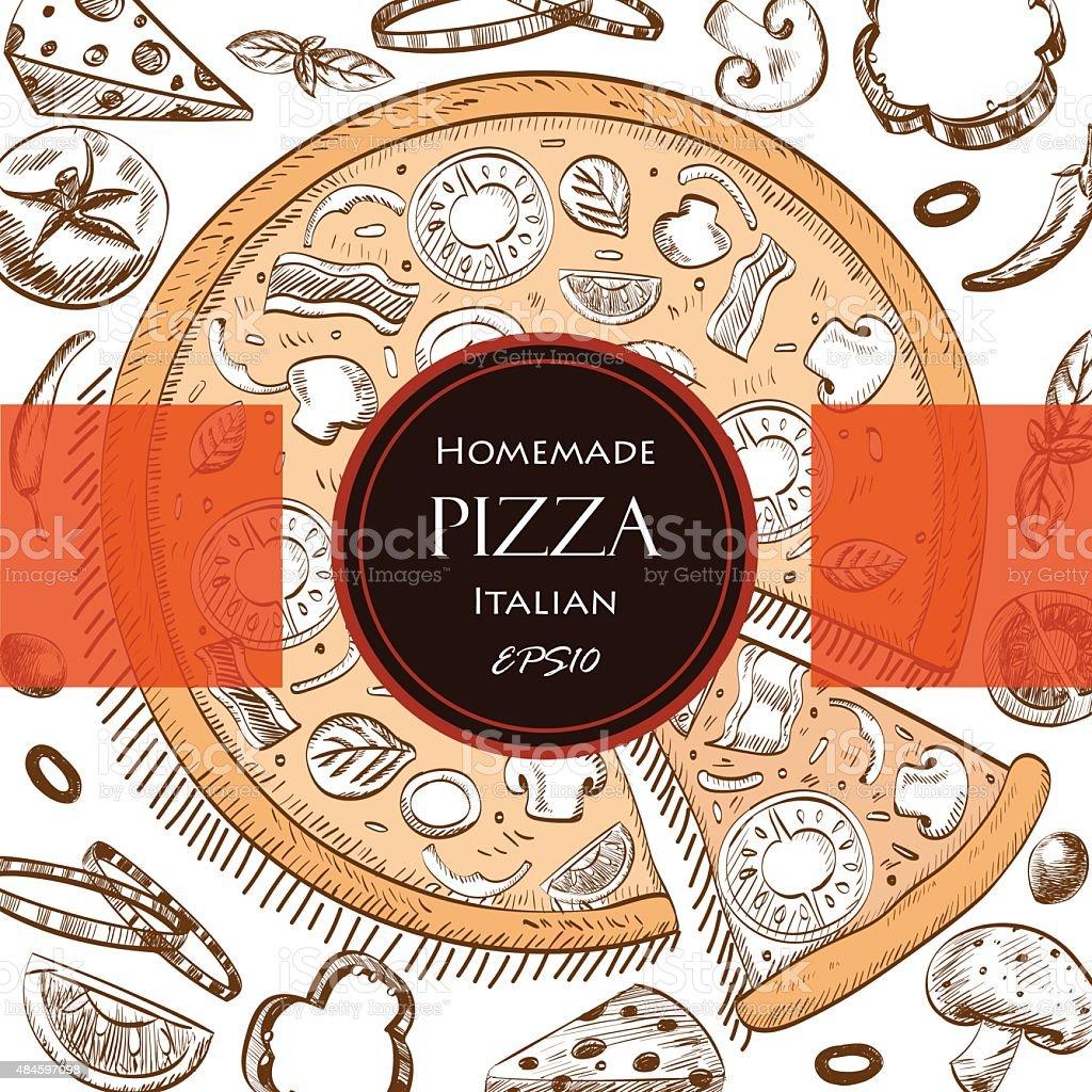 Ilustración de Pizza Portada Plantilla De Estilo De Dibujo De Comida ...