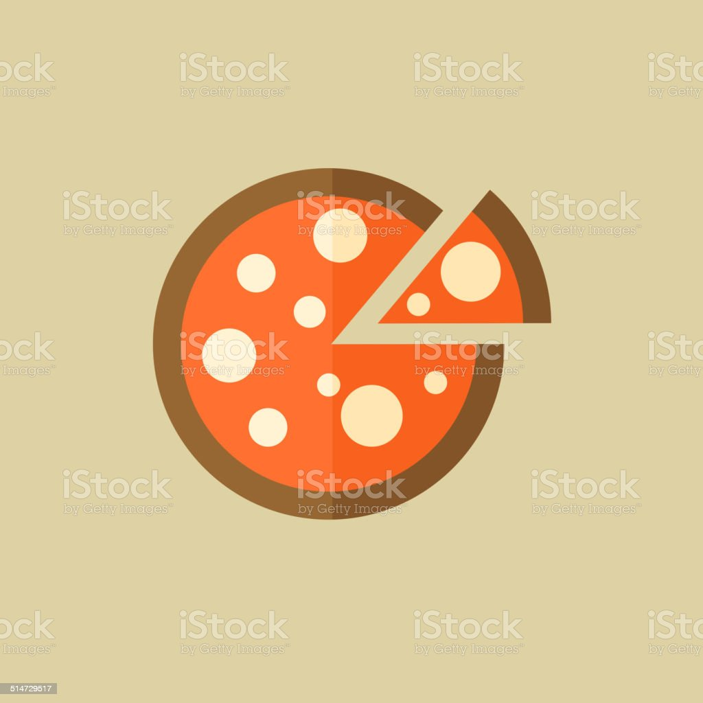 Pizza. Food Flat Icon vector art illustration
