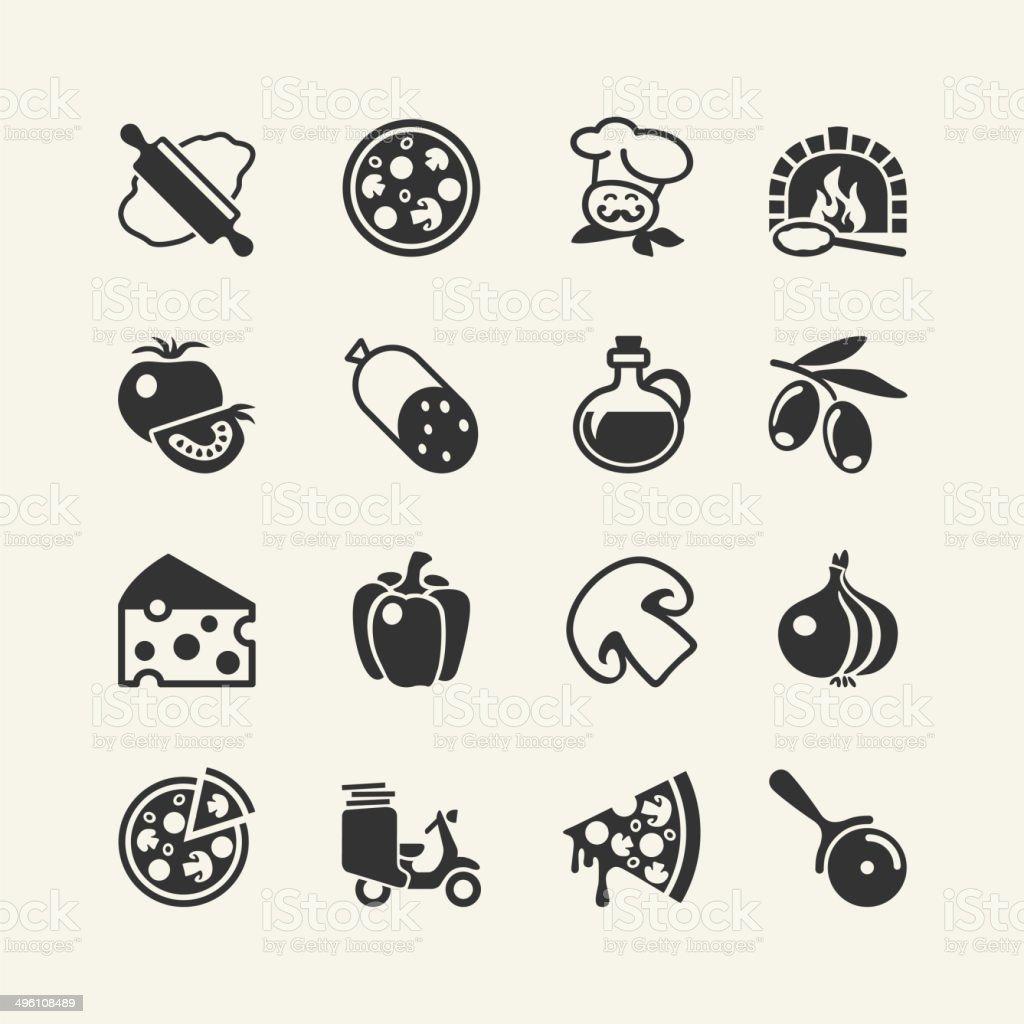Pizza - food icon set vector art illustration