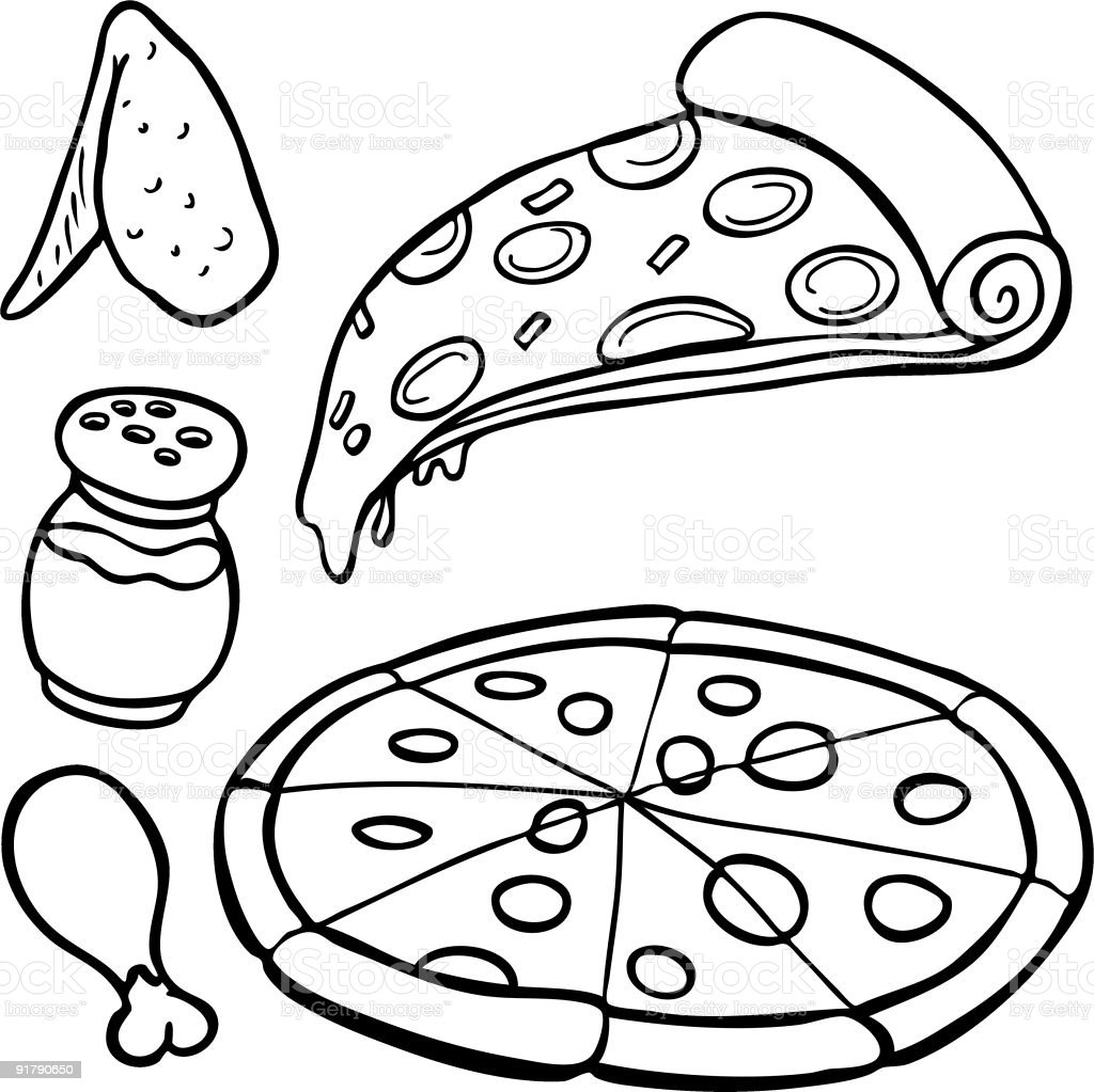 Pizza Food Items Line Art vector art illustration