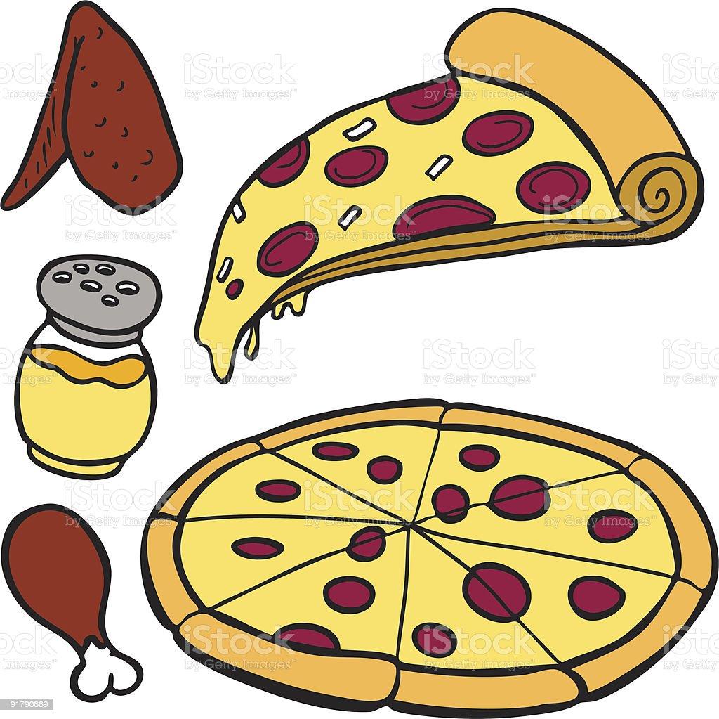 Pizza Food Items vector art illustration