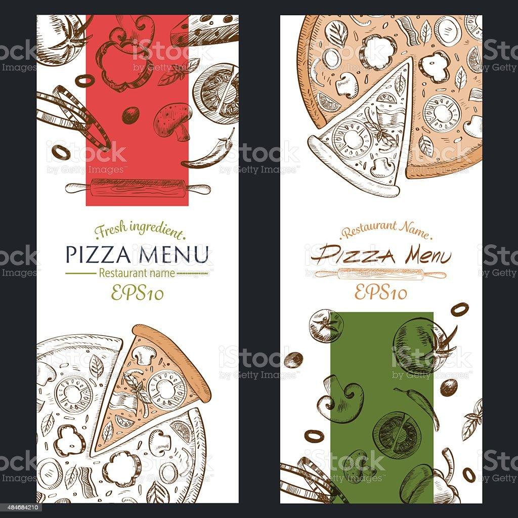 Menú De Pizza Cafe Brochure Ilustración De La Plantilla - Arte ...