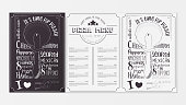 Pizza Food Menu for Restaurant, Pizzeria, Cafe. Design Template Placemat with Two Variants of Cover - Black Chalkboard and White Background. Hand-drawn Graphic Vector Illustrations - Pizza Cutter.