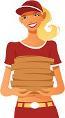 Illustration of a girl delivering pizza. Gradients and flat shapes were used.