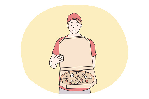 Pizza, home food delivery concept. Young smiling man boy courier supplier cartoon character standing with online order pizza cutting on slices. Fast supply service and ordering takeout illustration.