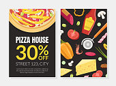 Pizza House Card Template with Cooking Ingredients, Element Can be Used for Restaurant or Cafe Menu, Flyer, Certificate Vector Illustration, Web Design.