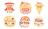 istock Pizza House Premium Quality Menu Labels Collection, Fast Food Restaurant, Cafe Bright Badges Vector Illustration 1199846349