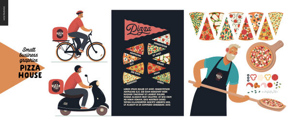 pizzahaus - kleinunternehmen grafik - bäcker und liefermann - pizzeria stock-grafiken, -clipart, -cartoons und -symbole