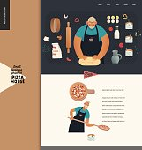 Pizza house - small business graphics - landing page design template. Modern flat vector concept illustrations - a pizza production process. Baker kneading dough, with peel putting pizza into the oven