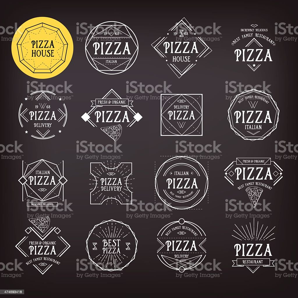 Pizza icon badge design. vector art illustration