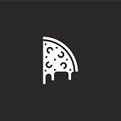 pizza icon. Filled pizza icon for website design and mobile, app development. pizza icon from filled party collection isolated on black background.