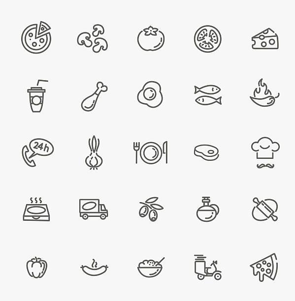 stockillustraties, clipart, cartoons en iconen met pizza icon set - chicken bird in box