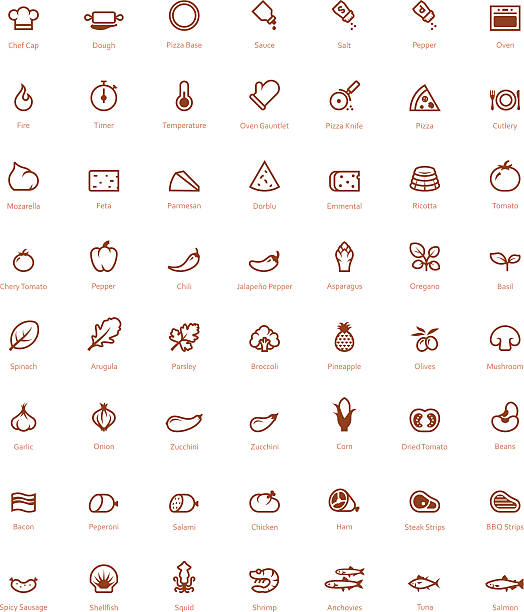 Pizza icon set Set of the simple pizza related glyphs mozzarella stock illustrations